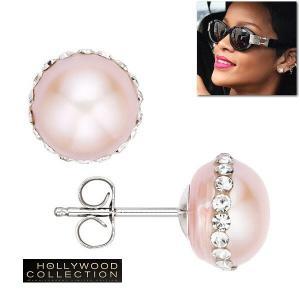 ピアス 淡水パール 大粒 ピンクパール 10mm ダイヤモンド リアーナ コレクション|celeb-cz-jewelry
