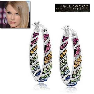 フープ ピアス レインボー 虹色 インサイドアウトスタイル テイラー スウィフト コレクション|celeb-cz-jewelry
