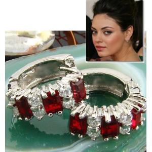 フープ ピアス ルビー レッド 赤 16mm ミラ クニス ファッション|celeb-cz-jewelry