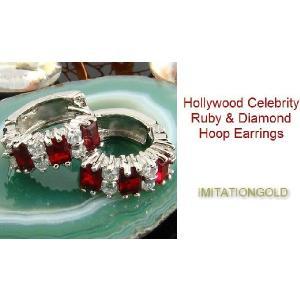 フープ ピアス ルビー レッド 赤 16mm ミラ クニス ファッション|celeb-cz-jewelry|03