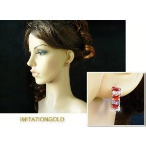 フープ ピアス ルビー レッド 赤 16mm ミラ クニス ファッション|celeb-cz-jewelry|05