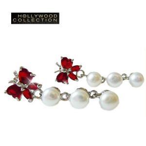 淡水パール ピアス 揺れる 蝶々 ルビー レッド  サラ ハ−ディング コレクション celeb-cz-jewelry