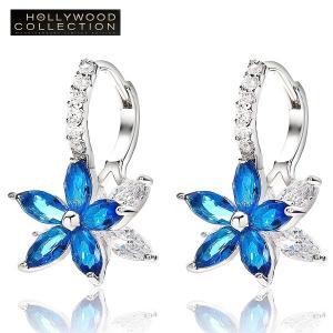 フープピアス 花 フラワー 揺れるピアス サファイア ブルー ハリウッドセレブコレクション|celeb-cz-jewelry