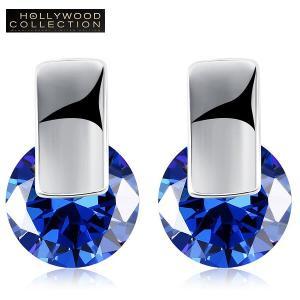 ピアス 一粒 サファイア ブルー スタッド ハリウッド セレブ コレクション|celeb-cz-jewelry