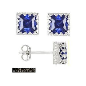 ピアス タンザナイト アンティークレース ピアス|プリンセスカット|ハリウッド セレブジュエリー コレクション |celeb-cz-jewelry