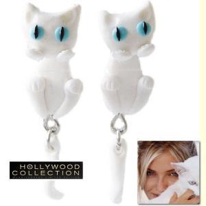 ピアス 猫 白猫 ネコ |幸運  しろねこ ピアス|キャメロン ディアス コレクション...