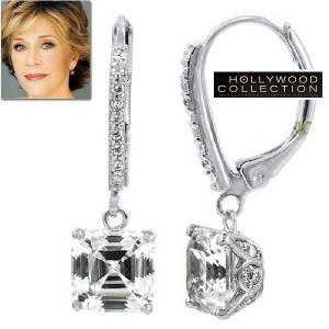 ピアス ダイヤモンド 揺れる アッシャーカット ダングルピアス ジェーン フォンダ コレクション|celeb-cz-jewelry