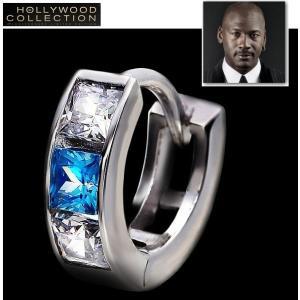メンズ ピアス フープ ブルーダイヤモンド 18金ホワイトゴ...