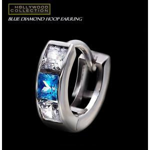 メンズ ピアス フープ ブルーダイヤモンド 18金ホワイトゴールド 片耳 18KWGP 12mm径 マイケル ジョーダン コレクション|celeb-cz-jewelry|03