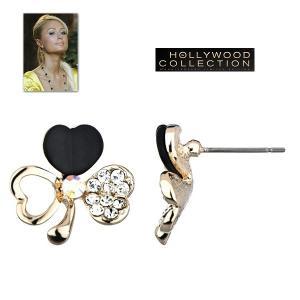ピアス クローバー  パヴェ 14金 ゴールド ピアス|パリスヒルトン コレクション|celeb-cz-jewelry