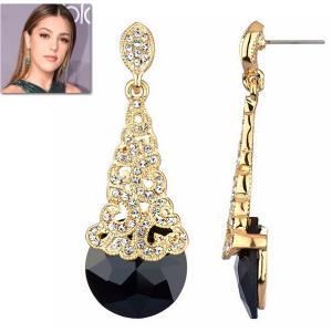 ピアス ブラック クリスタル 揺れる ピアス|アールデコ 18金 ゴールド|ハリウッド セレブ コレクション|celeb-cz-jewelry