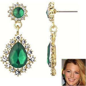 ピアス 揺れる エメラルド グリーン クリスタル ゴールド ブレイク ライブリー コレクション  celeb-cz-jewelry