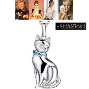 ネックレス シルバー キャット アクアマリン ブルー 猫 ペンダント ネックレス|ハリウッド セレブ コレクション|celeb-cz-jewelry