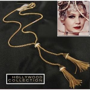 ネックレス ロング ゴールド タッセル アールデコ レトロ 映画 「華麗なるギャツビー」 キャリー マリガン コレクション|celeb-cz-jewelry