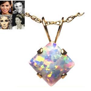 ネックレス オパール 10金 プリンセス ネックレス 10月誕生石 一粒 ネックレス ハリウッド コレクション celeb-cz-jewelry