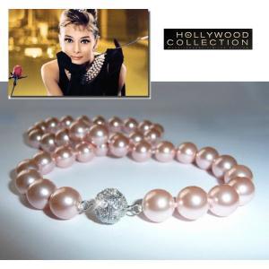 南洋 パール 真珠 ネックレス 冠婚葬祭 結婚式 ピンク シェルパール 10mm パヴェボール「ティファニーで朝食を」オードリー ヘップバーン コレクション|celeb-cz-jewelry