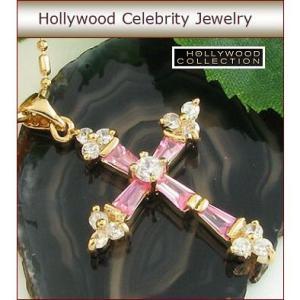 ネックレス ピンクダイヤモンド クロス 十字架 18金 ネックレス|ハリウッド セレブ コレクション|celeb-cz-jewelry