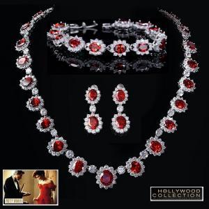 ブライダル ネックレス セット ルビー レッド 3点 セット 映画「プリティウーマン」 ジュリア ロバーツ コレクション|celeb-cz-jewelry