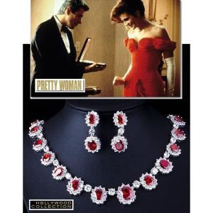 ブライダル ネックレス セット ルビー レッド プリティウーマン 2点セット ジュリア ロバーツ コレクション|celeb-cz-jewelry