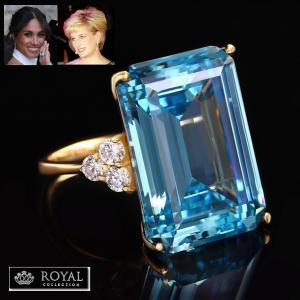 アクアマリン リング ダイアナ妃 メーガン妃 カクテルリング 結婚記念日 パーティ ロイヤル コレクション|celeb-cz-jewelry