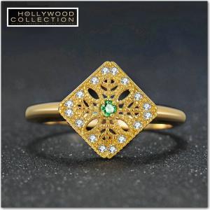 指輪 エメラルド フリーサイズ 14金 ゴールド フィリグリー ヴィンテージ ハリウッドセレブ コレクション|celeb-cz-jewelry