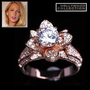 リング フラワー 花 ピンクゴールド パヴェ ブレイク ライブリー コレクション|celeb-cz-jewelry