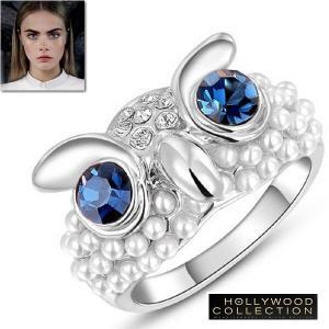 リング フクロウ ふくろう ブルーダイヤモンド パール ハリウッド アニマル コレクション|celeb-cz-jewelry