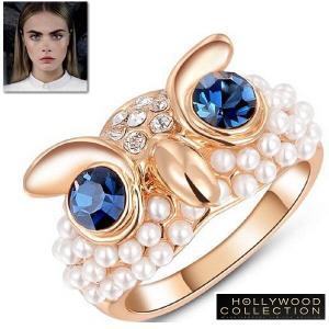 リング フクロウ ふくろう ピンクゴールド ブルーダイヤモンド パール ハリウッド ジュエリー アニマル  コレクション|celeb-cz-jewelry