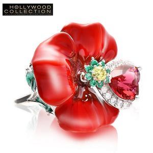 ファッション リング 花 赤 フラワー カクテルリング フリーサイズ ハリウッド セレブ コレクション celeb-cz-jewelry