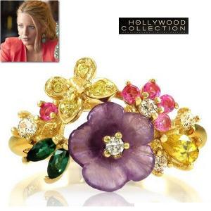 リング フラワー ブーケ  花束の指輪 ゴールド ブレイク ライブリー コレクション|celeb-cz-jewelry