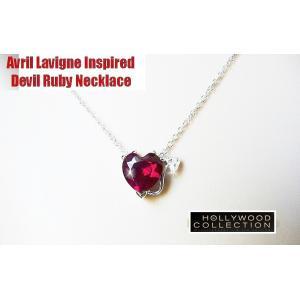 ハート ネックレス デビル ルビー レッド アヴリル ラヴィーン コレクション|celeb-cz-jewelry|03