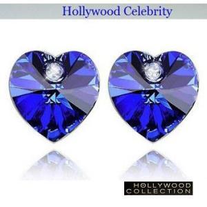 ピアス ロイヤル ブルー ハート ピアス|ダイヤモンド アクセント|ハリウッド セレブ コレクション |celeb-cz-jewelry