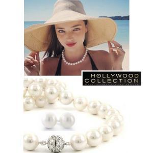 パール ネックレス セット 10mm 南洋真珠 冠婚葬祭 フォーマル シェルパール ミランダ カー コレクション|celeb-cz-jewelry