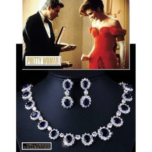ブライダル ネックレス セット サファイア ブルー「プリティウーマン 」ジュリア ロバーツ コレクション|celeb-cz-jewelry