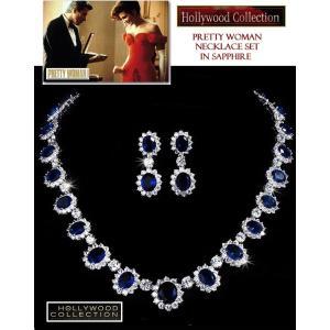 ブライダル ネックレス セット サファイア ブルー「プリティウーマン 」ジュリア ロバーツ コレクション celeb-cz-jewelry 02