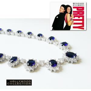 ブライダル ネックレス セット サファイア ブルー「プリティウーマン 」ジュリア ロバーツ コレクション celeb-cz-jewelry 09