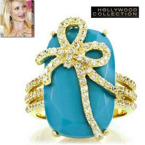 リング ターコイズ ブルー リボン18金 ゴールド カクテルリング キャメロン ディアス コレクション|celeb-cz-jewelry