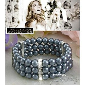 パール ブレスレット 黒真珠 ブライダル パーティ アールデコ サラ ジェシカ パーカー コレクション|celeb-cz-jewelry