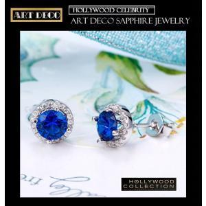 ピアス サファイア ブルー パヴェ レトロ アールデコ ケイティ ホームズ コレクション celeb-cz-jewelry 04