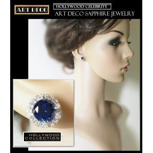 ピアス サファイア ブルー パヴェ レトロ アールデコ ケイティ ホームズ コレクション celeb-cz-jewelry 07