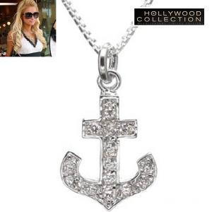 ネックレス パヴェ ダイヤモンド アンカー 錨 ネックレス パリス ヒルトン コレクション|celeb-cz-jewelry