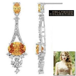 ピアス ダイヤモンド シャンパンダイヤモンド ブライダル 揺れるピアス テイラー スイフト コレクション|celeb-cz-jewelry