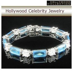 ブレスレット アクアマリン ブルー プリンセス テニス ブレスレット|ハリウッドコレクション|celeb-cz-jewelry