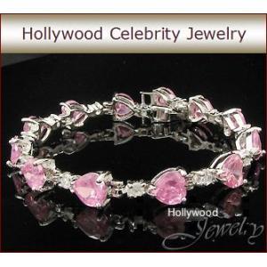 ブレスレット ピンクダイヤモンド ハート テニス ブレスレット ハリウッド セレブ コレクション   celeb-cz-jewelry
