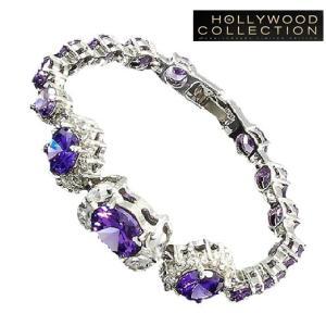 ブレスレット アメジスト パープル フラワー テニスブレスレット ハリウッド セレブ コレクション  celeb-cz-jewelry