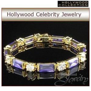 ブレスレット アメジスト パープル 18金 18KGP プリンセス テニス ブレスレット ハリウッド コレクション celeb-cz-jewelry