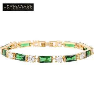 ブレスレット エメラルド グリーン 18金 プリンセス テニスブレスレット ハリウッド コレクション|celeb-cz-jewelry