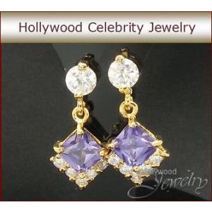 ピアス アメジスト パープル 18金 プリンセス 揺れる ピアス|ハリウッド セレブ コレクション|celeb-cz-jewelry