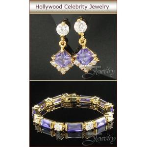 ブレスレット セット ピアス アメジスト パープル 18金 ハリウッド セレブ コレクション|celeb-cz-jewelry