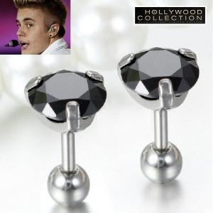 メンズ ピアス ブラックダイヤモンド 黒ダイヤ スタッド 両耳 ジャスティン ビーバー コレクション|celeb-cz-jewelry